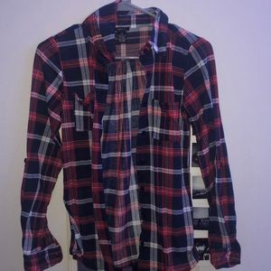 Red and navy blue flannel